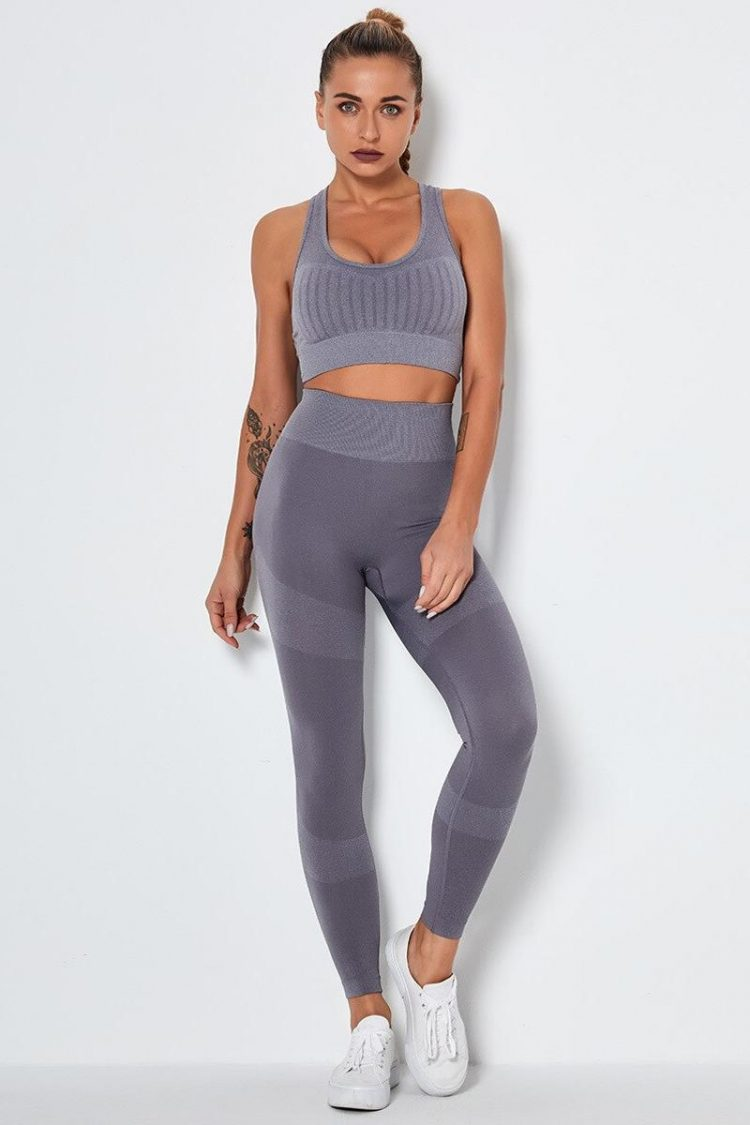 Seamless Yoga Set Women Workout Sportswear Gym Clothing Fitness Long Sleeve Fitness Crop Top+High Waist Squat Seamless Leggings
