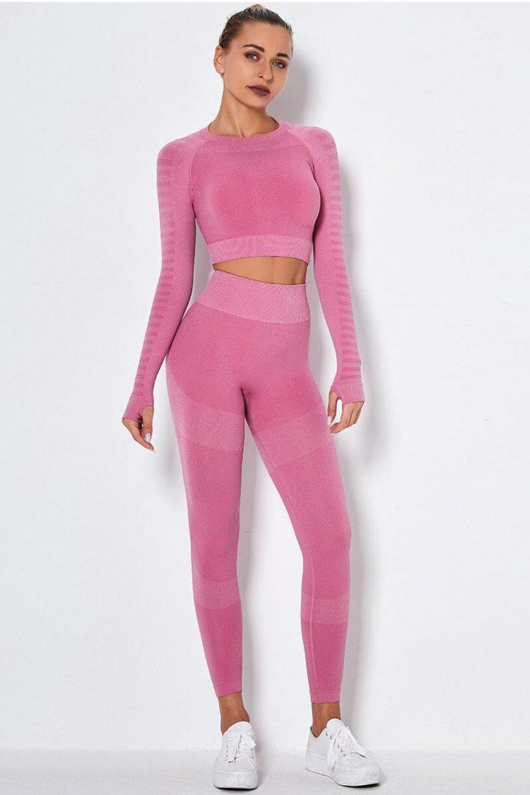 Colors Seamless Yoga Set Women 2PCS Sportwear Clothing Active Wear Gym Suit Long Sleeve Crop Top High Waist Elastic Leggings
